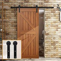 "YBT 10ft Sliding Barn Door Hardware Kit, Sliding Barn Door Closet Hardware Track System for Single Wooden Door, Easy to Install, Fit 60"" Wide Door (Simple Shape)"