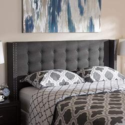 "Baxton Studio Ginaro Modern and Contemporary Dark Grey Fabric Button-Tufted Nail Head Queen Size Winged Headboard Contemporary/Dark Grey/Fabric Polyester 100%""/LVL/MDF/Foam/"