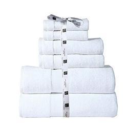 Cozy Home Collection Bathroom Towel Set | Absorbent Bath Towel | Hand Towel and Washcloth Set | Hotel Towels | Guest Towel | 600 GSM Bath Towel, 2 Washcloths, 2 Hand Towels, 2 Bath Towels- White
