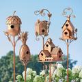 Birdhouse Garden Stakes - Abstract - Grandin Road