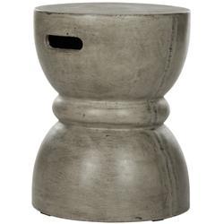 Haruki Indoor/Outdoor Modern Concrete Round 17.7-Inch H Accent Table in Dark Grey - Safavieh VNN1006A