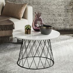 Roper Retro Mid Century Lacquer End Table in White/Black - Safavieh FOX4245C