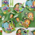 """Creative Converting Jungle Safari Birthday Party Supplies Kit Guests, Paper/Plastic in Green, Size 16""""H X 8""""W X 7""""D 