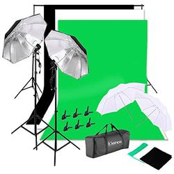 YYAO Photography Lighting Kit Studio Lights Photo Backdrop Stand Kit 3 Color (Black & White & Green) 5.3 x 10 ft Background Screen,Silver Black Umbrellas,with Carry Bag