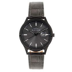 Elevon Concorde Quartz Gunmetal Dial Black Leather Men's Watch with Date Indicator ELE115-5