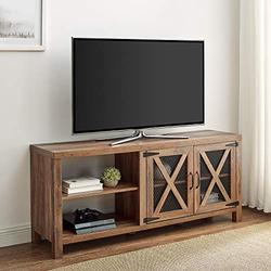 """Walker Edison Farmhouse X Cabinet Wood Universal TV Stand for TV's up to 64""""Flat Screen Living Room Storage Cabinet Doors and Shelves Entertainment Center Rustic Oak, 58 Inch"""