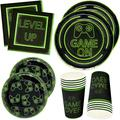"""Gift Boutique Video Gaming Party Plates Supplies Set 24 9"""" Plate 24 7"""" Plates 24 9 Oz Cups 50 Luncheon Napkins for Gamer Birthday Decorations Gaming Themed Tableware- Level Up Game Over Game On"""
