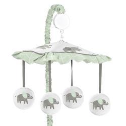 Sweet Jojo Designs Elephant Musical MobileFabric in Green, Size 25.0 H x 19.0 W x 11.0 D in   Wayfair Mobile-Elephant-GY-MT