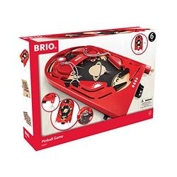 BRIO 34017 Pinball Game   A Classic Vintage, Arcade Style Tabletop Game for Kids and Adults Ages 6 and Up,Red