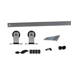 Flat Track by Leatherneck Hardware 207 Top Mount Mini Single Track Sliding Barn Door Hardware Kit in Gray, Size 1.0 H x 84.0 W x 1.75 D in | Wayfair
