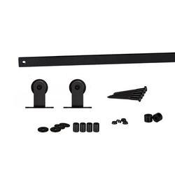 Flat Track by Leatherneck Hardware 207 Top Mount Mini Single Track Sliding Barn Door Hardware Kit in Black | Wayfair 2021-0008T