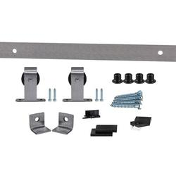 Flat Track by Leatherneck Hardware 407 Top Mount Premium Single Track Sliding Barn Door Hardware Kit in Gray, Size 2.0 H x 72.0 W x 2.44 D in