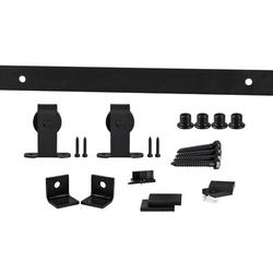 Flat Track by Leatherneck Hardware 407 Top Mount Premium Single Track Sliding Barn Door Hardware Kit in Black, Size 2.0 H x 72.0 W x 2.44 D in