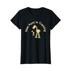 Womens New Aunt In Training Funny Adorable Family Giraffe Shirt