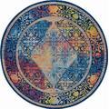 Ankara Global 6' Round Blue Multicolor Boho Area Rug - Nourison ANR04