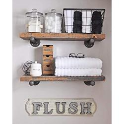 Industrial Floating Shelves Wall Shelf - Floating Shelves Wood Wall Mounted, Hanging Shelves, Floating Shelves Rustic, with Pipe Hardware Brackets (Set of 2) 1.5'' X 7.5'' (White Wash, 36'')