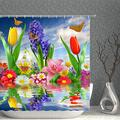 Colorful Flower Butterfly Shower Curtain Hyacinth Tulip Lily Daisy Over Water Spring Floral Scenery Decor Fabric Bathroom Curtains,Waterproof Polyester with Hooks 70x70 Inch