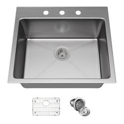 """MR Direct Stainless Steel 23"""" L x 20"""" W Drop-In Kitchen Sink w/ Additional AccessoriesStainless Steel in Gray, Size 9.0 H x 23.0 W x 20.0 D in"""