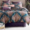 Bungalow Rose Mangino Vibrant Bohemian Chic Paisley Damask Medallion Duvet Cover Set in Blue/Green/Indigo | Wayfair