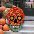 "Designocracy Day of the Dead Decorated Skull Door Hanger, Wood in Red, Size 24""H X 18""W 