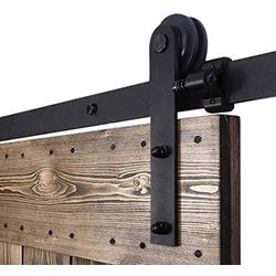 "YBT 5.5ft Sliding Barn Door Hardware Kit, Sliding Barn Door Closet Hardware Track System for Single Wooden Door, Easy to Install, Fit 33"" Wide Door (Simple Shape)"
