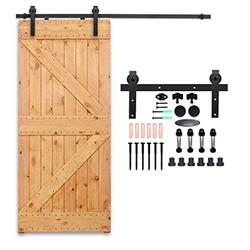 CCJH 8ft Sliding Barn Door Hardware Kit Vintage Barn Door Closet Hardware Track System for Single Wooden Door