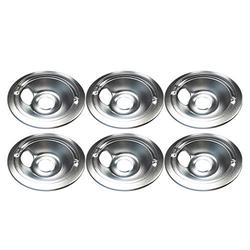 """Ladysdress 6 Pack GE/Hotpoint Electric Range Chrome Reflector Bowls With Locking Slot,Chrome Drip Pan Set Repalcement for Frigidaire Tappan Stove Burner Covers (6"""" Drip Pan B)"""