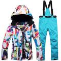 Z&X Ski Jacket Set Men's Single and Double Ski Wear Windproof Waterproof Warm Padded Ski Suit Professional Colorful Protective Equipment,A,L