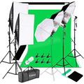 YYAO Photography Softbox Umbrellas Photography Light Bulbs Lighting Kit Studio Lights Photo Backdrop Stand Kit 3 Color (Black & White & Green) 5.3 x 10 ft Background Screen,with Carry Bag
