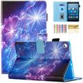 Fire HD 8 Case, Casii Soft PU Leather Magnetic Folio Stand Cover with Card Holders [Auto Sleep/Wake] for All-New Amazon Fire HD 8 (5th/6th/7th/8th Gen, 2015/2016/2017/2018 Release), Purple Starry Sky