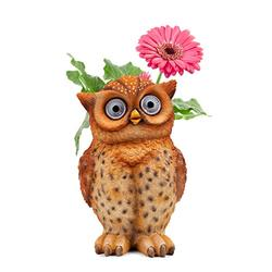 Owl Pot Succulent Planter | Owl Flower Pot Solar LED | Outdoor Indoor Decor for Yard, Patio, Windows, Kitchen or Deck | Garden Gift | Auto On/Off (Brown)