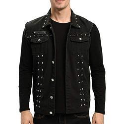 INVACHI Men's Slim Fit Punk Denim Vest Sleeveless Jeans Vest Jacket with Rivets