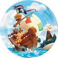 Creative Converting Treasure Island Pirate Paper Disposable Dinner Plate Paper in Blue/Brown/Red   Wayfair DTC339778DPLT