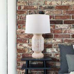 "World Menagerie Lovettsville Scalloped Ceramic 29"" Table Lamp Ceramic/Linen in White, Size 29.0 H x 13.0 W x 13.0 D in | Wayfair"