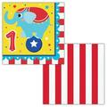 """The Party Aisle™ Circus Animals Happy 1st Birthday 6.5"""" Napkin in Blue/Red/Yellow, Size 6.5 W x 0.63 D in 