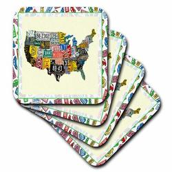 3dRose License Plate Game Coaster Ceramic in Yellow, Size 0.25 H x 0.25 D in | Wayfair cst_14896_3