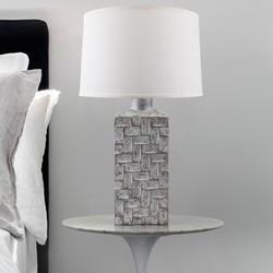 "World Menagerie Jonesville Rectangular Ceramic 32"" Table Lamp Ceramic/Linen in Gray/White/Yellow, Size 32.0 H x 9.0 W x 9.0 D in   Wayfair"