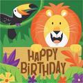 "The Party Aisle™ Jungle Safari Happy Birthday 6.5"" Paper Disposable Napkins, Paper in Yellow/Orange/Green, Size 6""H X 6""W | Wayfair"