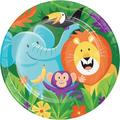 "Creative Converting Jungle Safari Paper Disposable Dinner Plate, Paper in Blue/Orange/Green, Size 8""H X 8""W 