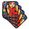 3dRose Women's Ceramic Tile Coasters - Loteria woman colorful romance dance lottery party - set of 4 (cst_21203_3) Ceramic in Red   Wayfair