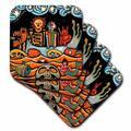3dRose Ceramic Tile Coasters - The Devil s Dream folk art skulls mexican colorful surrealism - set of 4 (cst_21127_3) Ceramic in Orange | Wayfair