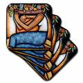 3dRose Ceramic Tile Coasters - Flower Girl mexican art colorful - set of 4 (cst_21129_3) Ceramic in Orange, Size 0.25 H x 0.25 D in | Wayfair