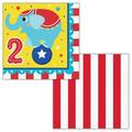 """The Party Aisle™ Circus Animals Happy 2nd Birthday 6.5"""" Napkin in Blue/Red/Yellow, Size 6.5 W x 0.63 D in 