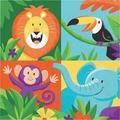 "The Party Aisle™ Jungle Safari 6.5"" Paper Disposable Napkins, Paper in Blue/Orange/Green, Size 8""H X 8""W | Wayfair BB773D0B7B774A6994DD1AABF3328DA1"