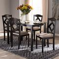 """Baxton Studio Ruth Modern and Contemporary Beige Fabric Upholstered and Dark Brown Finished 5-Piece Dining Set/Contemporary/Beige/Medium Wood/Table/Fabric Polyester 100%""""/Solid Rubber Wood/Foam"""