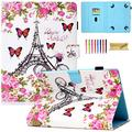 Dteck 9.5-10.5 Inch Universal Case, Nice Cute Folio Stand Case Protective Leather Pocket Cover for Apple/Samsung/Kindle/Huawei/Lenovo/Android/Dragon Touch 9.7 9.6 10.1 10.5 Inch Tablet-Flower Tower