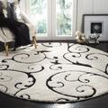 """""""Florida Shag Collection 6'-7"""""""" X 6'-7"""""""" Round Rug in Ivory And Black - Safavieh SG455-1290-7R"""""""