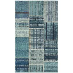 """""""Monaco Collection 2'-2"""""""" X 12' Rug in Forest Green And Light Blue - Safavieh MNC243F-212"""""""