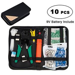 Network Cable Repair Tool Kit, COVVY 12 in 1 Cat5 Cat6 Cable Tester Maintenance Tool Kit, RJ45 Cable Crimper, 8P8C RJ45 Connectors, Cable Tester, Screwdrivers, Stripping Pliers Set, 9V Battery Include