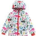 KISBINI Girls' Cartoon Dinosaur Jacket for Kids boy Girl Windproof Pants lightweight hood windbreaker outwear (2T, White-Jacket)
